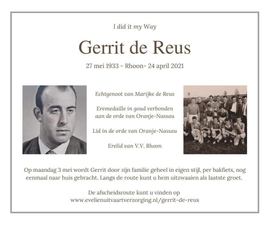 In memoriam Gerrit de Reus