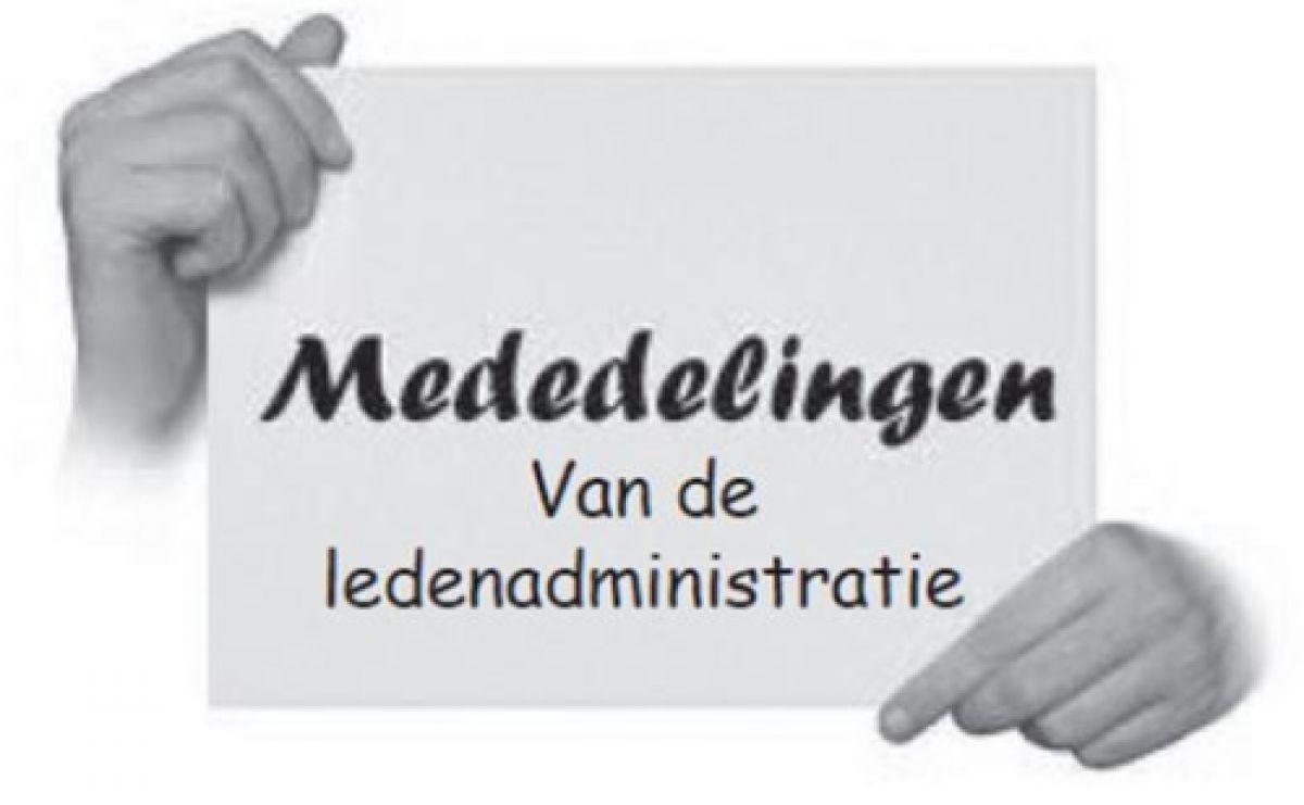 Mededeling ledenadministratie